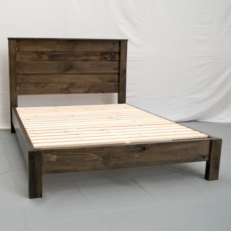 Rustic Platform Bed & Headboard